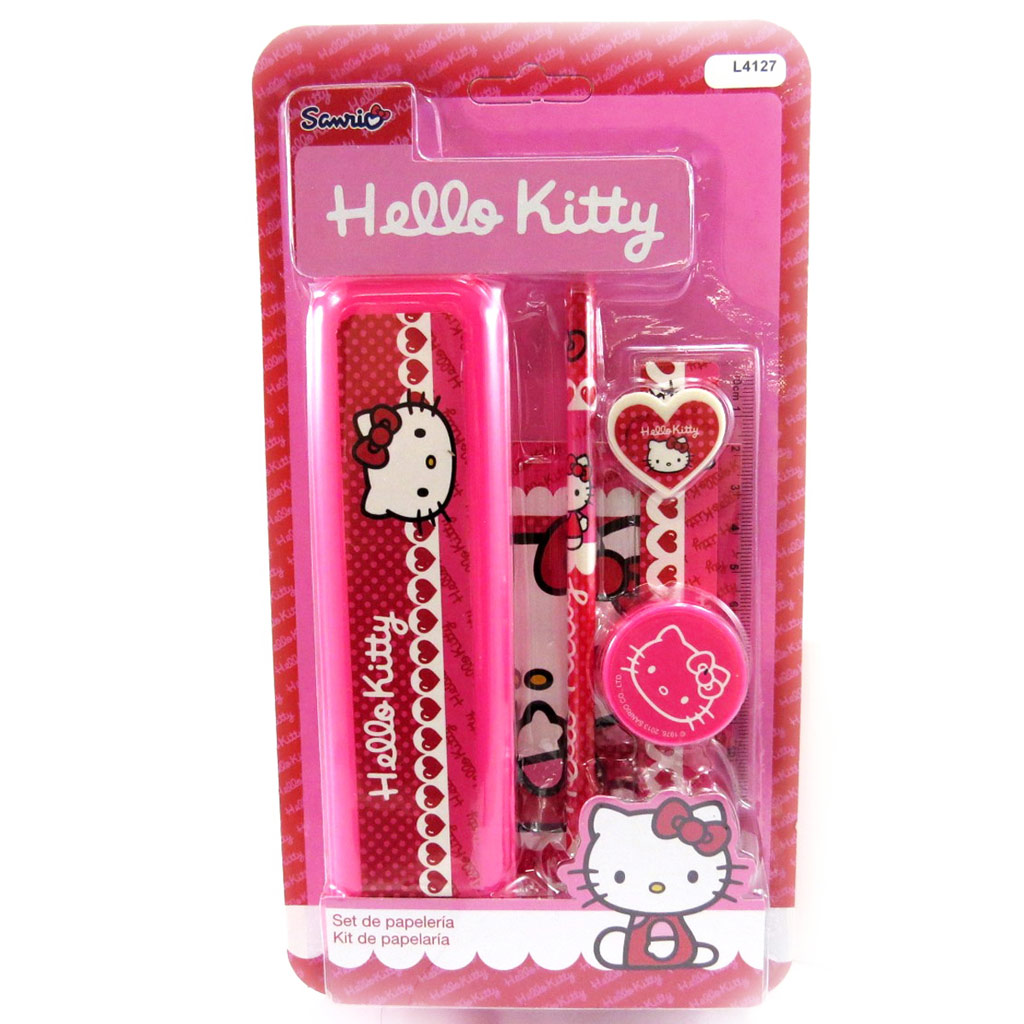 Set scolaire \'Hello Kitty\' rose fuschia (6 pièces) - [L4127]