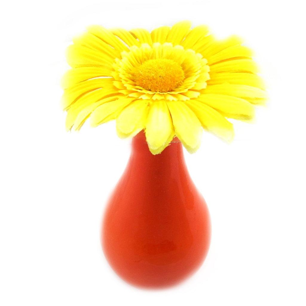 Vase Déco \'Marguerite\' jaune (fleur artificielle) - [L4199]
