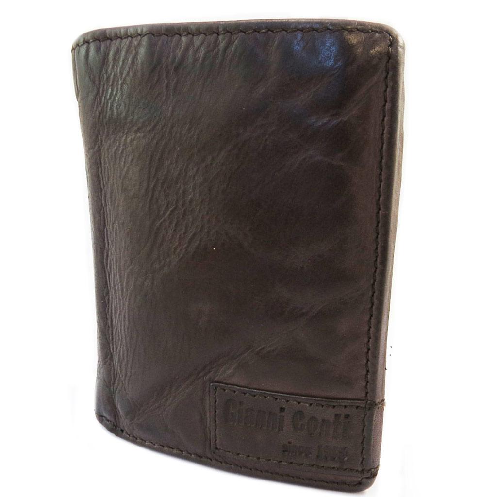 Portefeuille cuir \'Gianni Conti\' marron foncé vintage - 11x85x3 cm - [P3031]