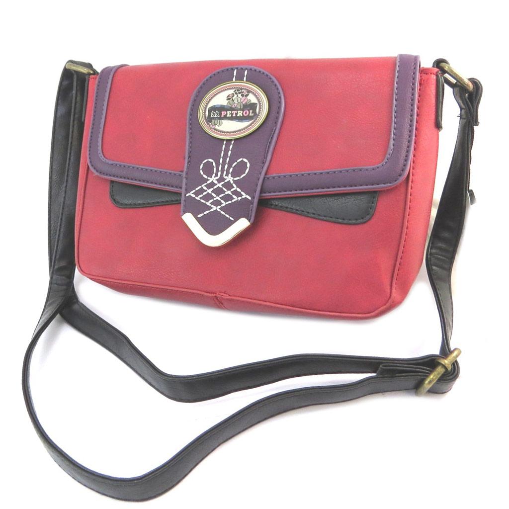 Sac créateur \'Lili Petrol\' rouge violet vintage - 26x17x65 cm - [P3204]