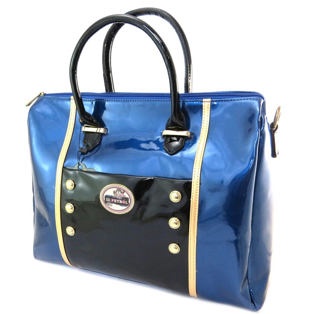 Sac cabas \'Lili Petrol\' bleu noir vernis - 37x28x125 cm - [P3208]