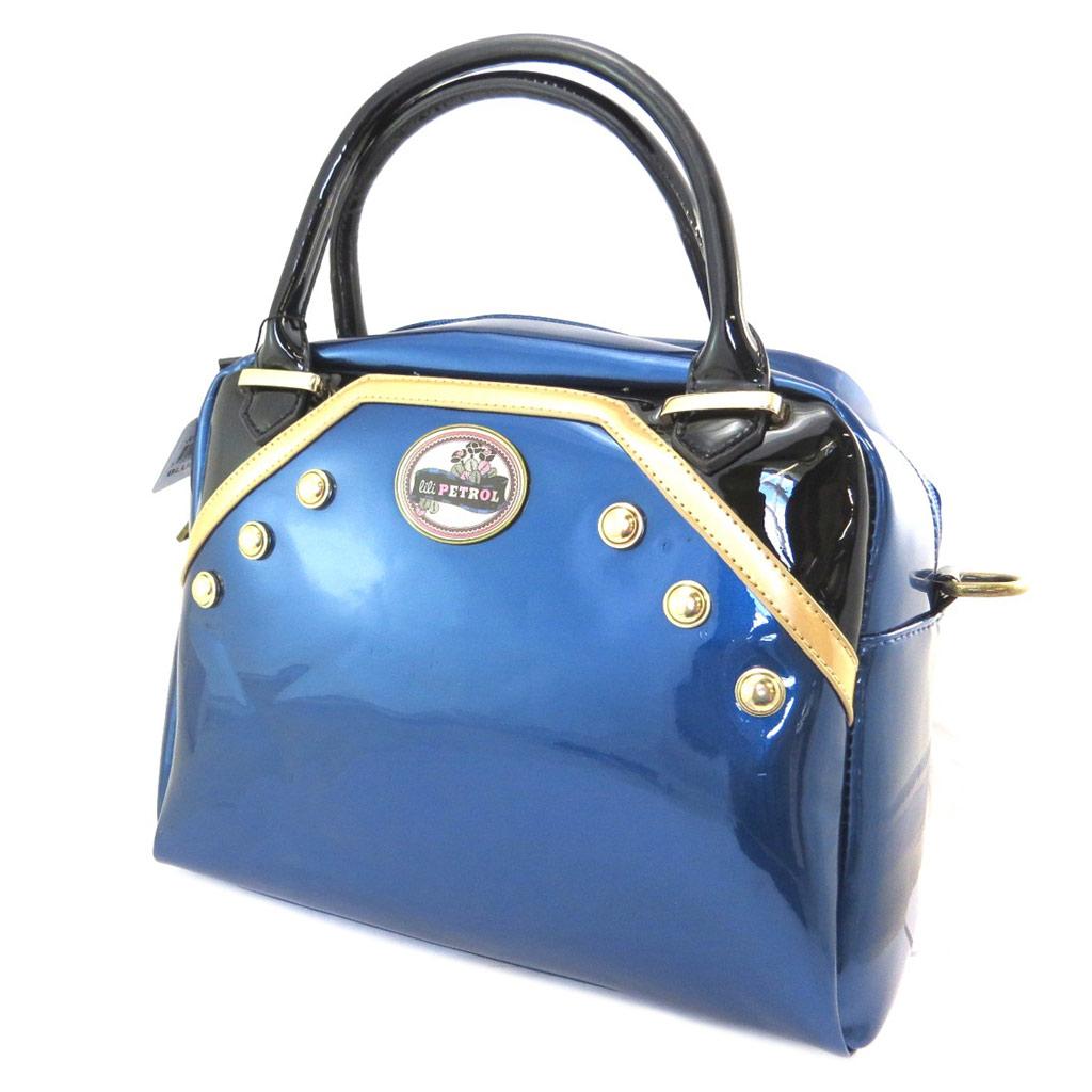 Sac créateur \'Lili Petrol\' bleu noir vernis - 31x24x14 cm - [P3209]