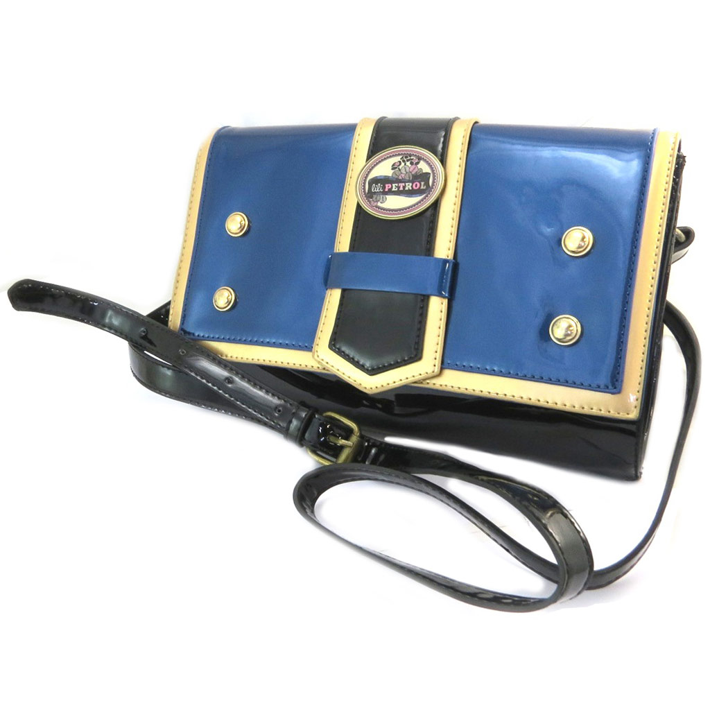 Sac pochette \'Lili Petrol\' bleu noir vernis - 28x175x85 cm - [P3210]
