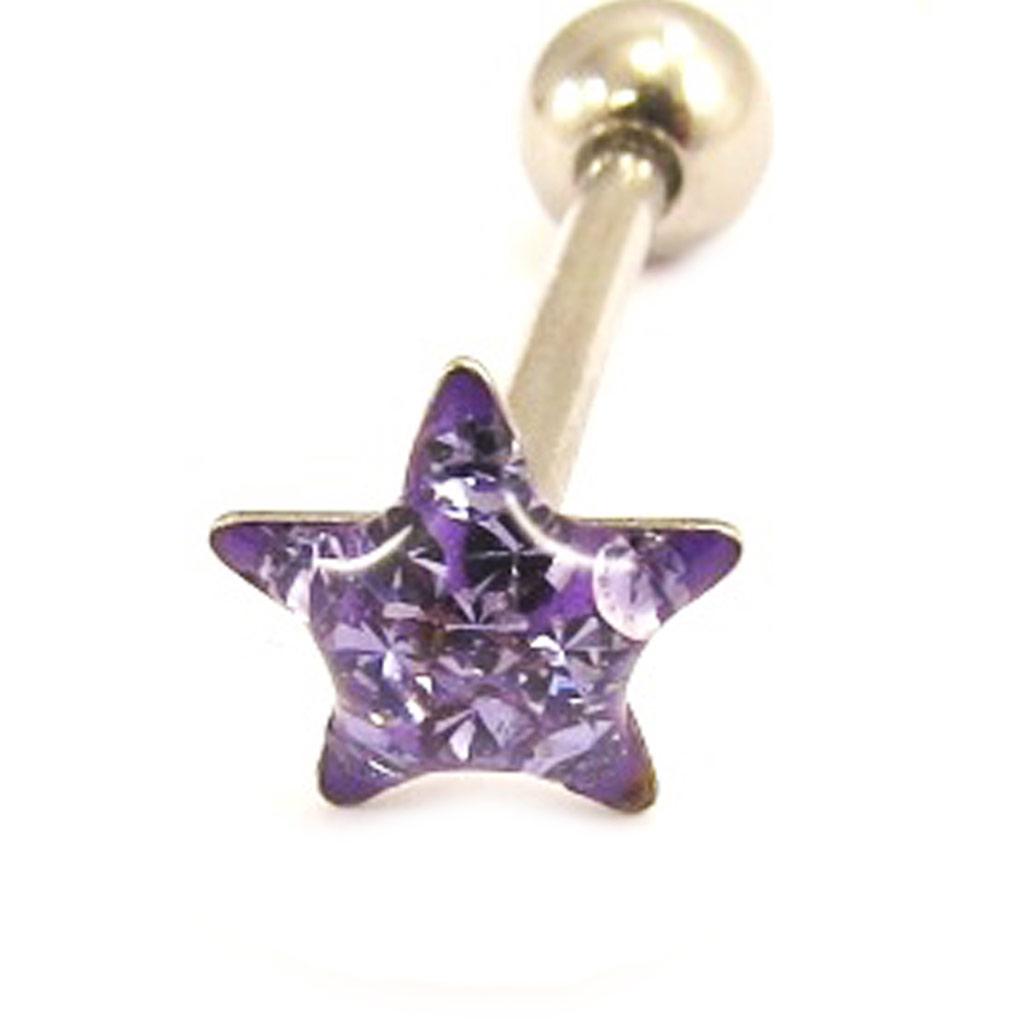 Barbell acier \'Etoile\' violet - [L4498]
