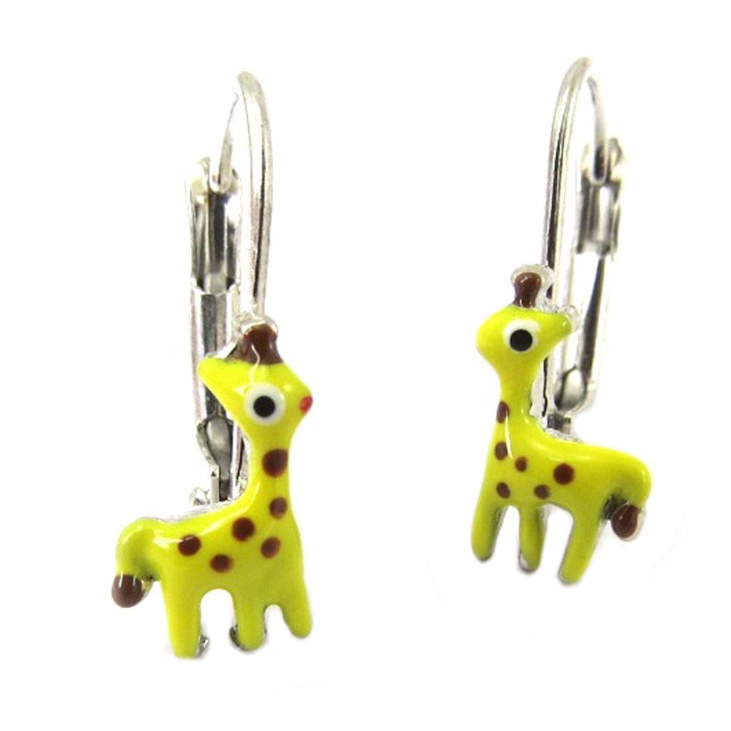 Dormeuses Argent \'Girafes\' jaune - [P3257]