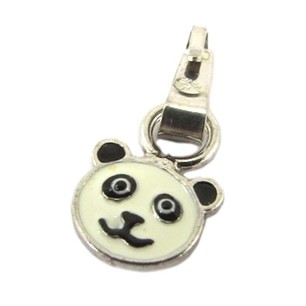 Pendentif Argent \'Panda\' blanc noir - [P3264]