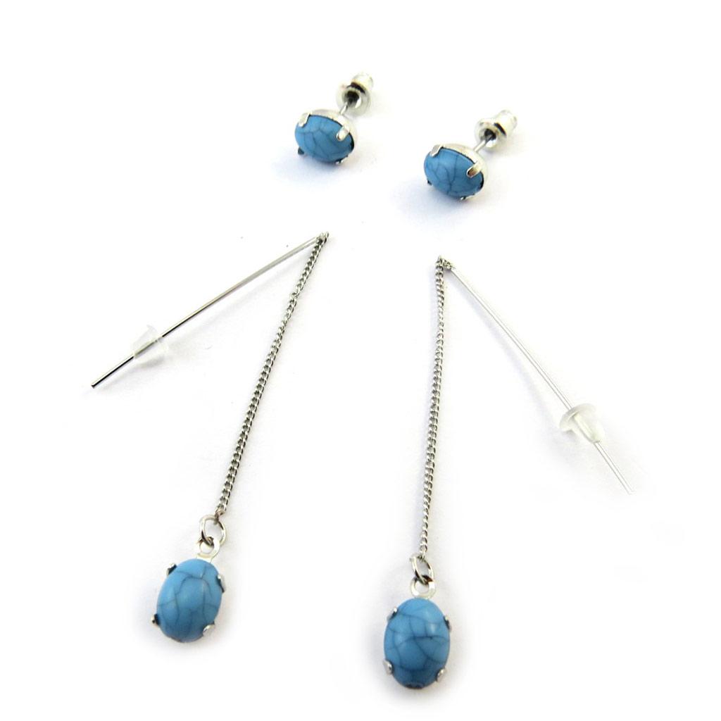 2 paires de boucles \'Mineralia\' bleu - [N3720]