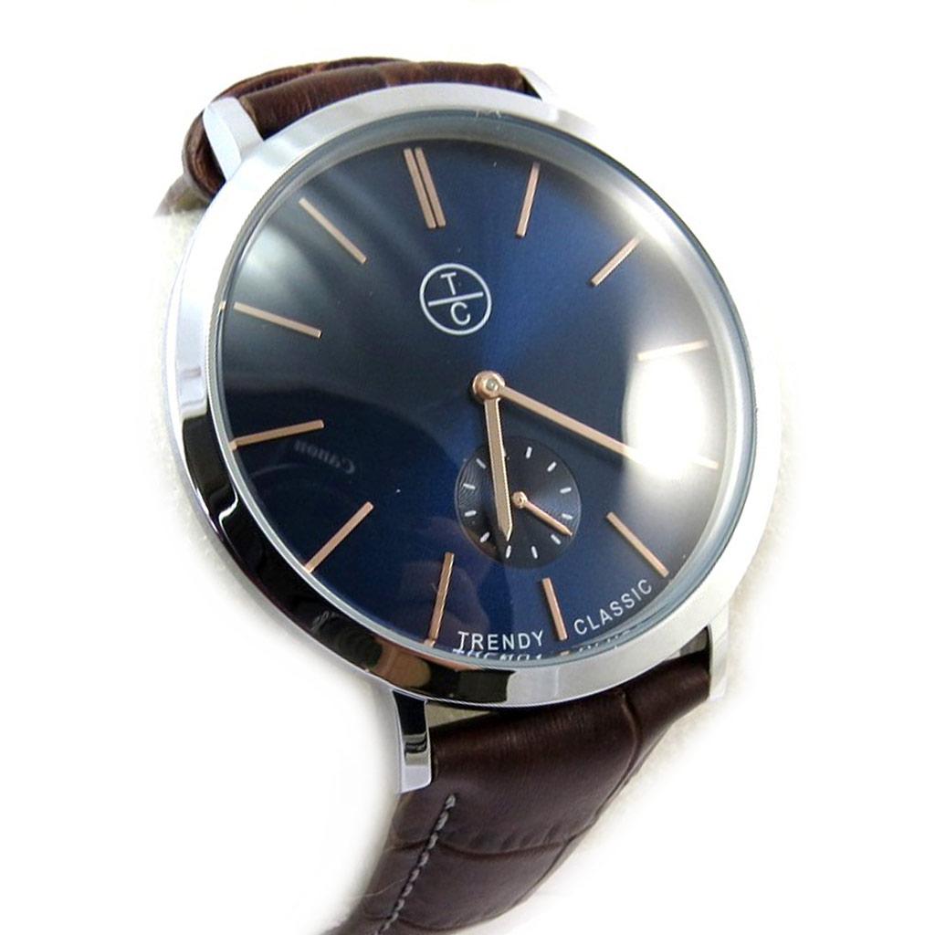 Montre créateur \'Trendy\' marron bleu (slim) - [N3816]