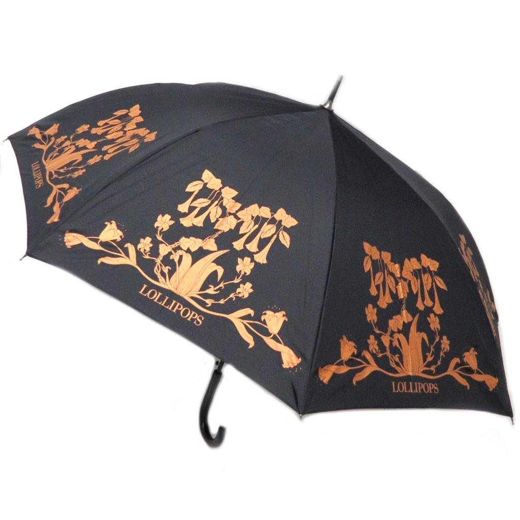 Parapluie canne \'Lollipops\' noir marron rétro - 82 cm - [P3521]