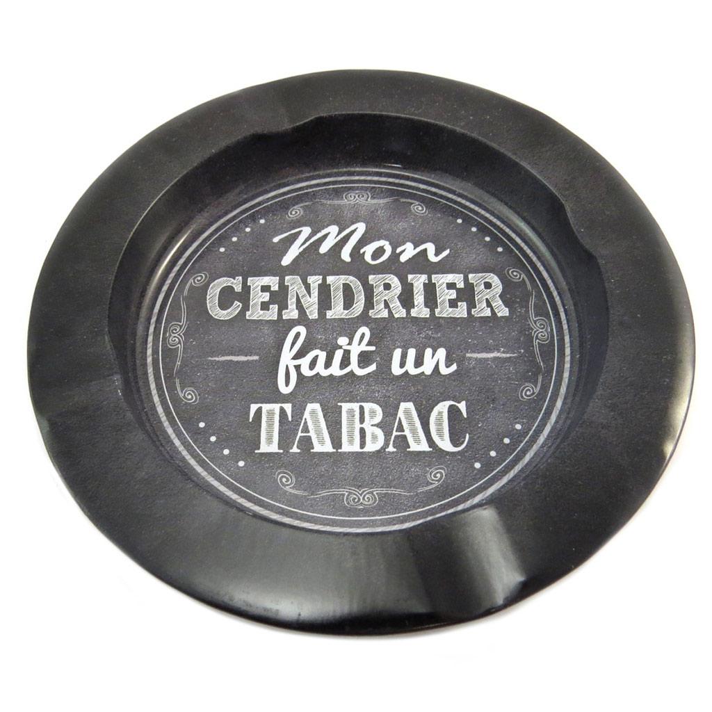 Cendrier métal \'Messages\' noir (mon cendrier fait un tabac) - [P3545]