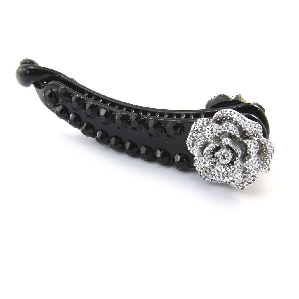 Barrette américaine \'Rosa Romantica\' noir argenté - [N4061]
