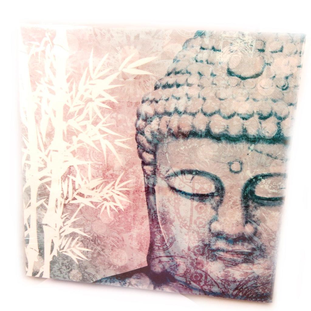 Toile \'Bouddha\' gris (20x20 cm) - [N4143]