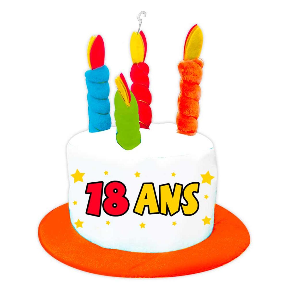 Chapeau d\'anniversaire \'18 ans\' multicolore - [N4166]