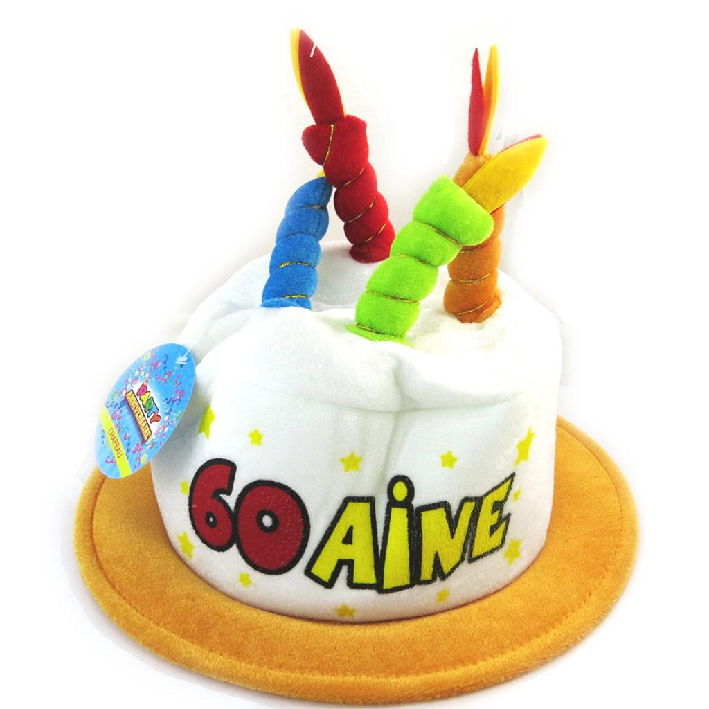 Chapeau d\'anniversaire \'60 ans\' multicolore - [N4177]