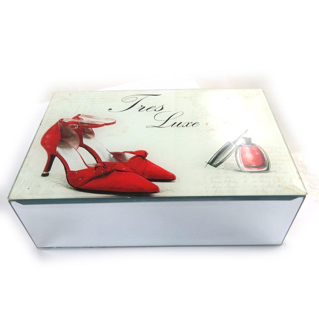 Coffret à Bijoux \'Belle Epoque\' blanc rouge - 20x13x55 cm - [N4265]