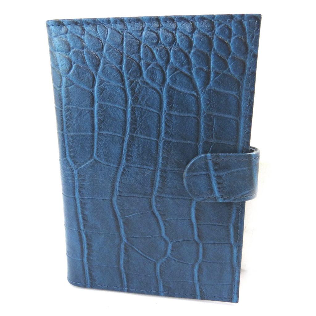 Porte Papiers de voiture Cuir \'Frandi\' bleu croco (ultra plat) - [N4407]