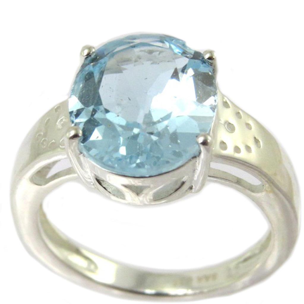 Bague artisanale argent \'Sissi\' topaze bleu argenté - 12x10 mm - [P4090]