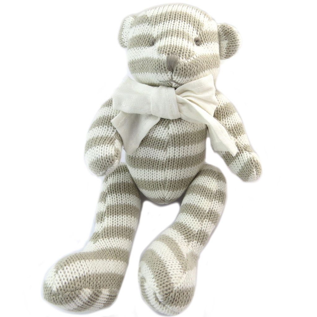 Peluche \'Teddy Bear\' beige blanc rayé - 17x15x12 cm - [P4170]