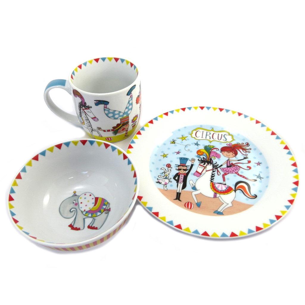 Coffret petit déjeuner porcelaine \'Circus\' blanc multicolore - [P4190]