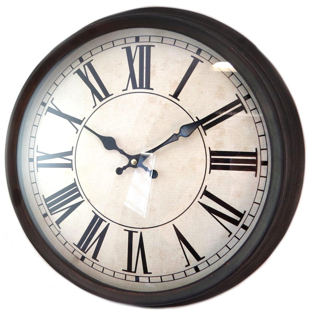Horloge métal \'Vintage Design\' noir beige - 40x7 cm - [P4198]