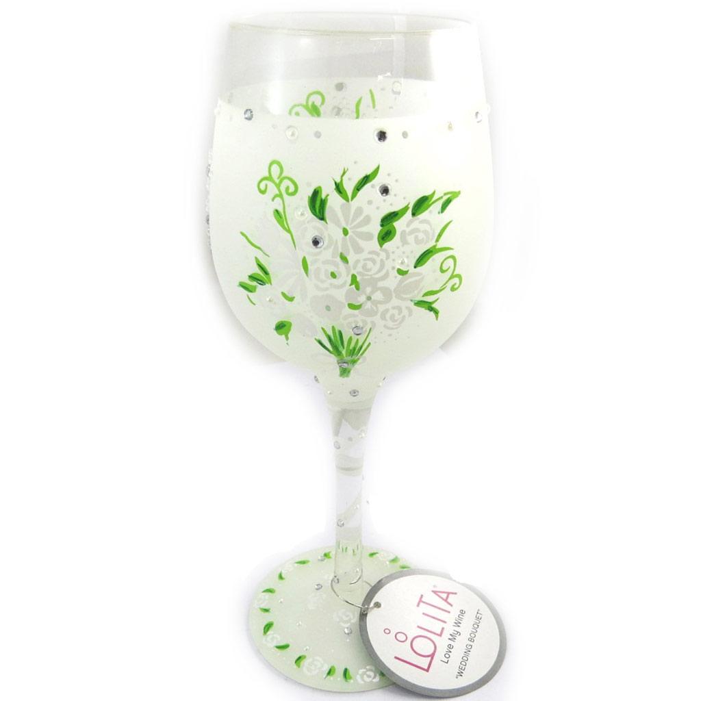Verre à vin créateur \'Wedding Bouquet\' ivoire vert - 215 cm - [N4742]