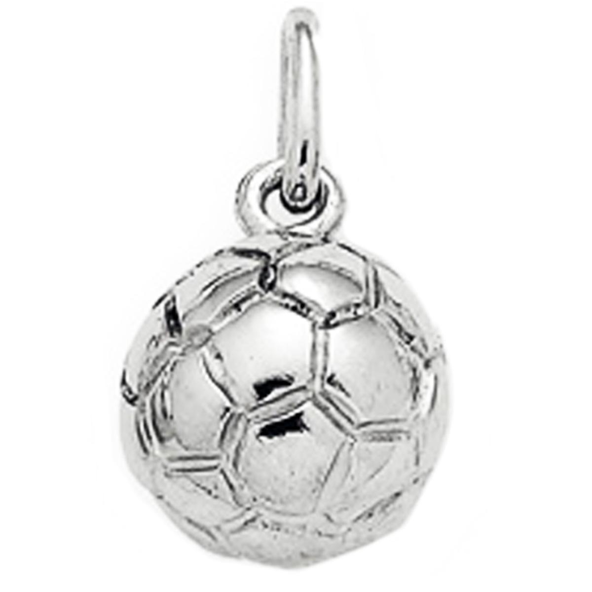Pendentif Argent \'Football\' argenté (rhodié) - 8 mm - [P4394]