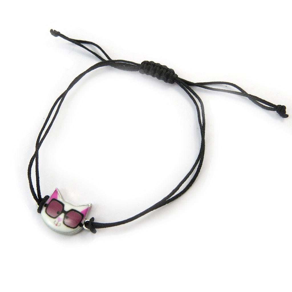 Bracelet ethnique \'Chats\' blanc rose - [N5043]