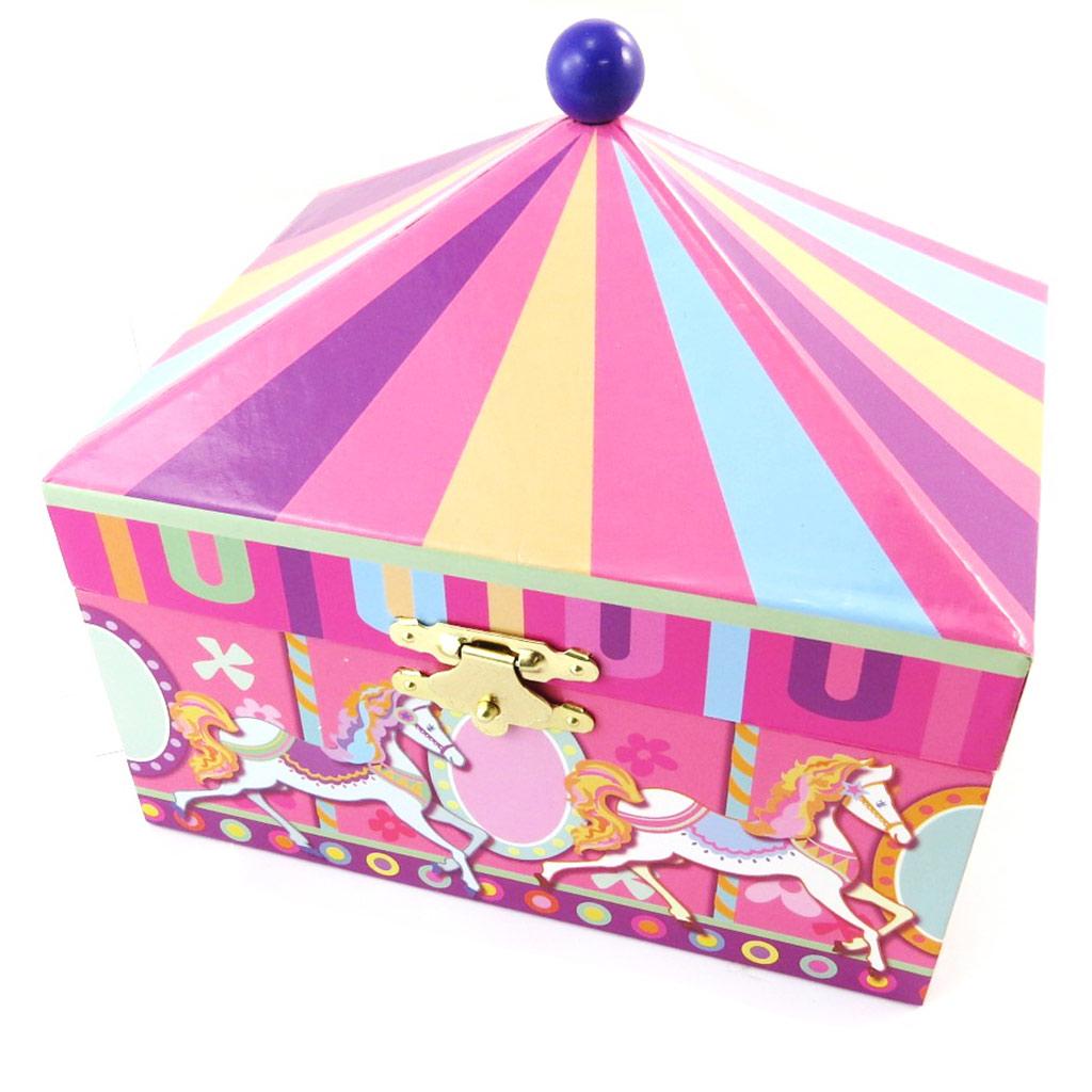 Coffret à Bijoux \'Carrousel\' rose multicolore (musical) - 15x13x11 cm - [N5291]