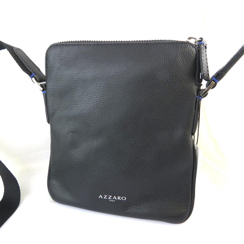 Porté-croisé cuir \'Azzaro\' noir - 21x20x2 cm - [N5643]