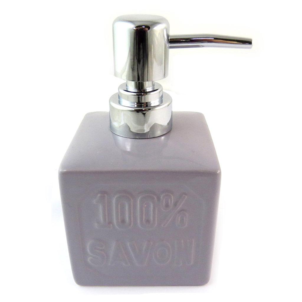 Distributeur de savon céramique \'100% savon\' lavande (rétro) - [N5661]
