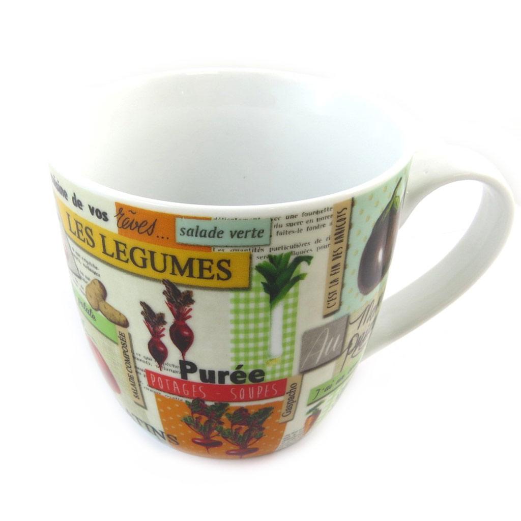 Mug porcelaine \'Au marché primeur\' multicolore (fruits et légumes) - [N5663]