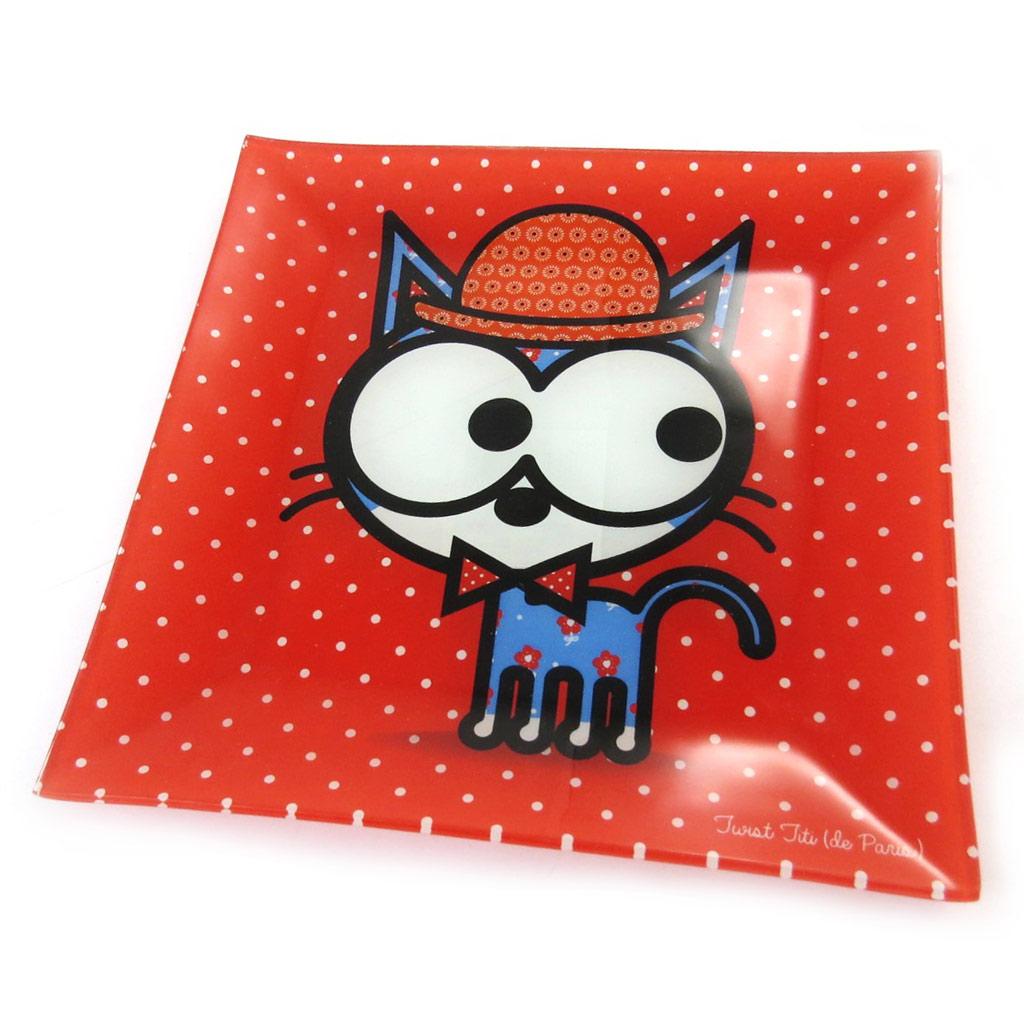 Coupelle verre \'Chien et Chat Lolita\' rouge - 20x20 cm - [N5694]