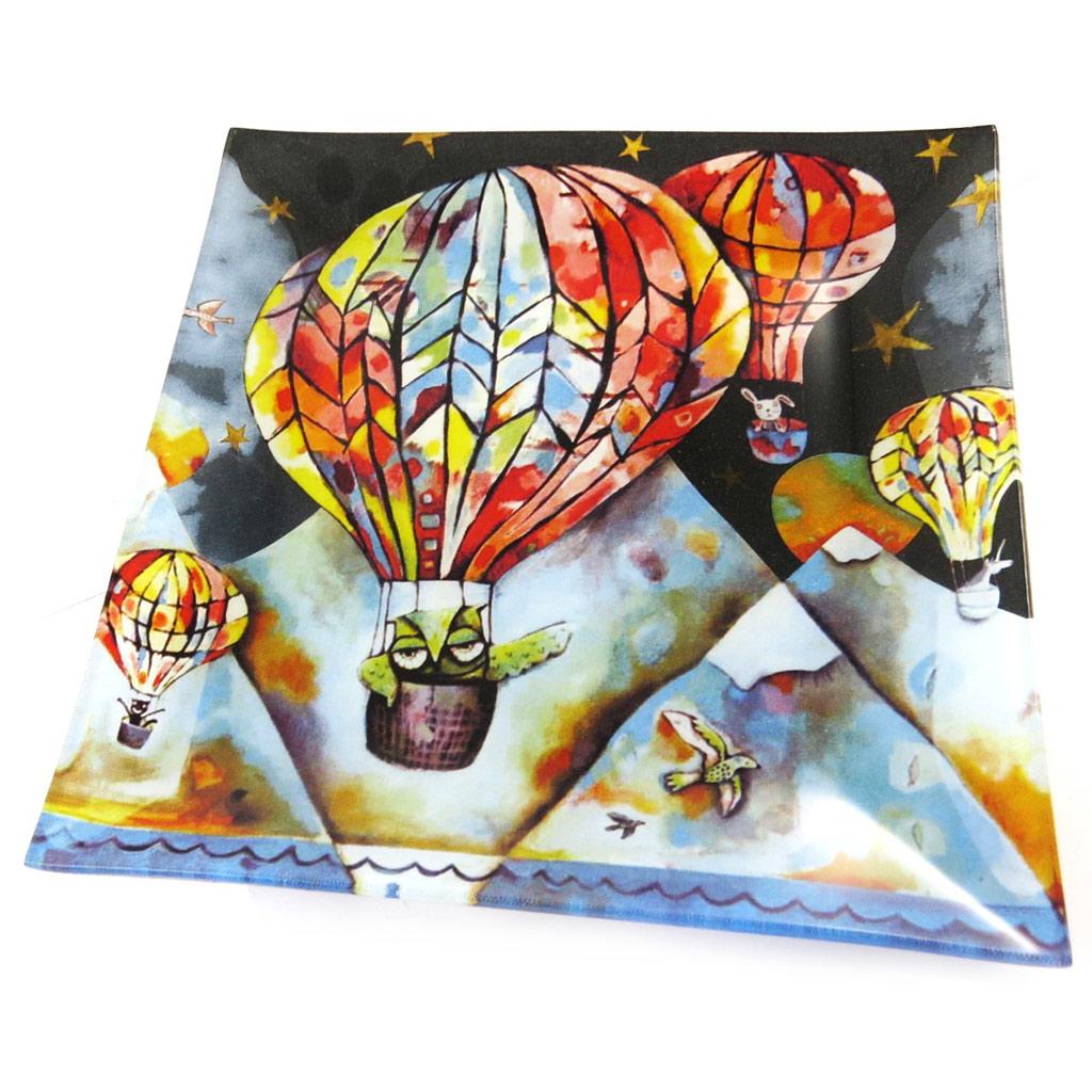 Coupelle verre \'Allen Designs\' montgolfière - 20x20 cm - [N5696]