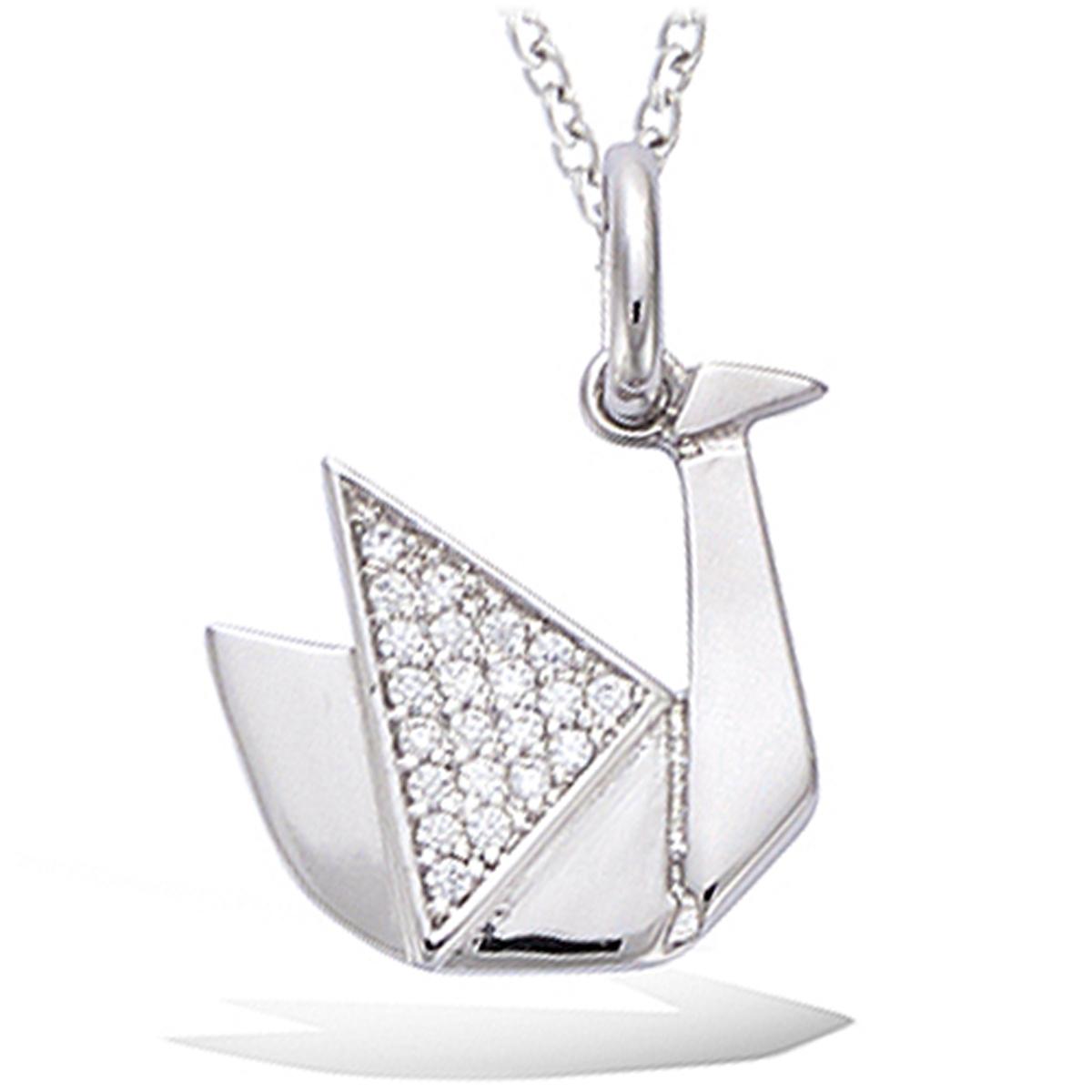 Pendentif Argent \'Origami\' argenté (rhodié) cygne - 15x15 mm - [P5096]