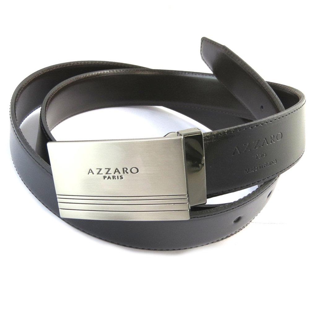 Ceinture Cuir \'Azzaro\' noir marron - 30 mm - [N6136]