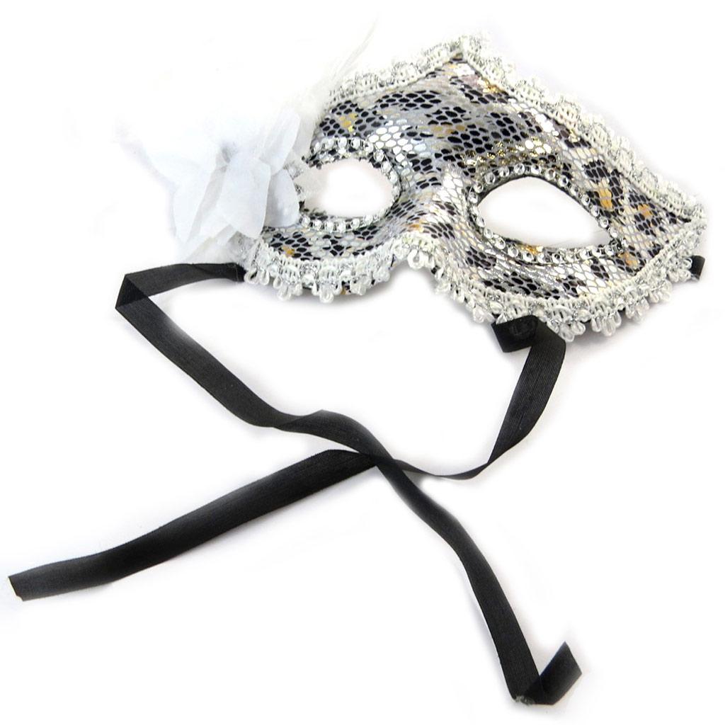 Masque créateur \'Carnaval de Venise\' blanc argenté panthère - [N6183]