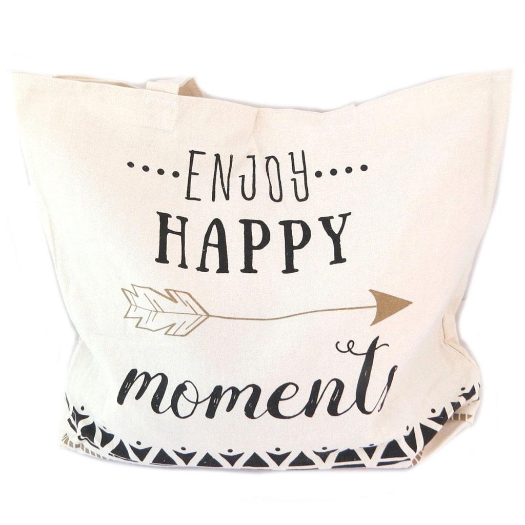 Sac coton \'Messages\' beige (Enjoy happy moments) - 39x315x7 cm - [P5243]