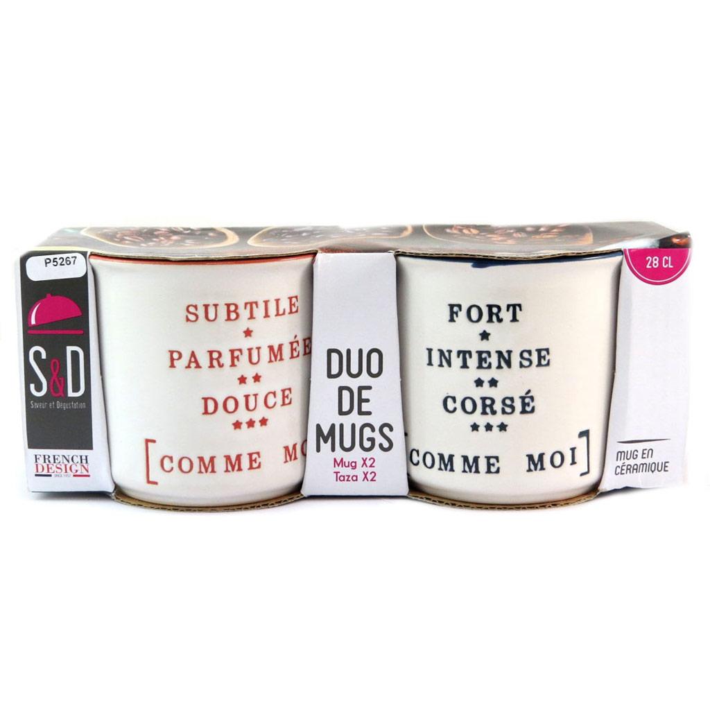 2 mugs céramique \'Messages\' beige rouge bleu - 90x80 mm - [P5267]
