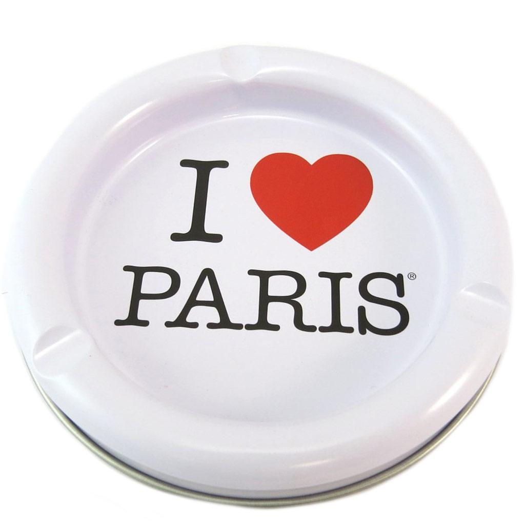 Cendrier métal \'I Love Paris\' blanc rouge - 13 cm - [P5322]