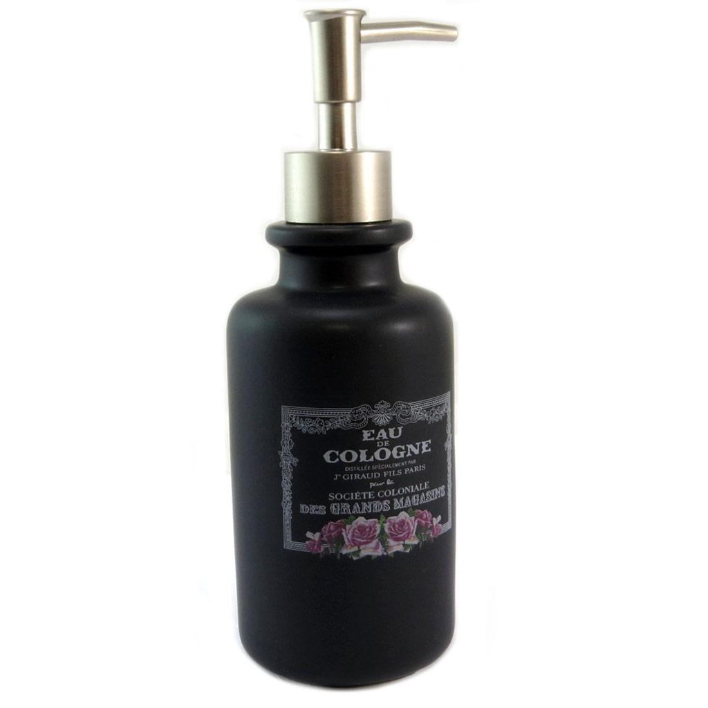 Distributeur de savon céramique \'Eau de Cologne\' noir (rétro) - 21x7 cm - [P5327]