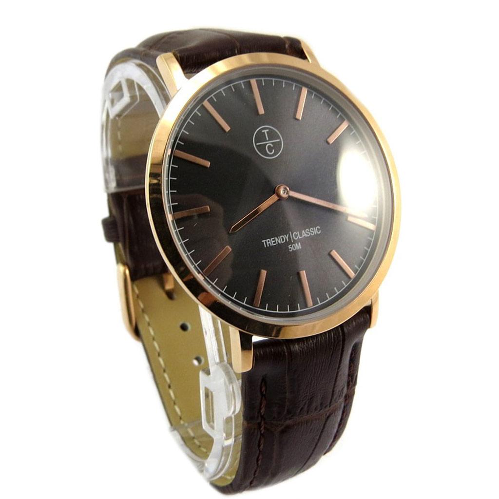 Montre étanche \'Trendy\' marron croco doré (slim) - [P5335]