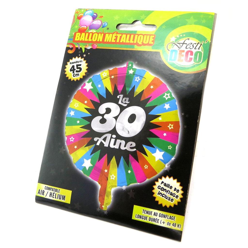 Ballon métallique \'30 ans\' tutti frutti - 45 cm - [P5353]
