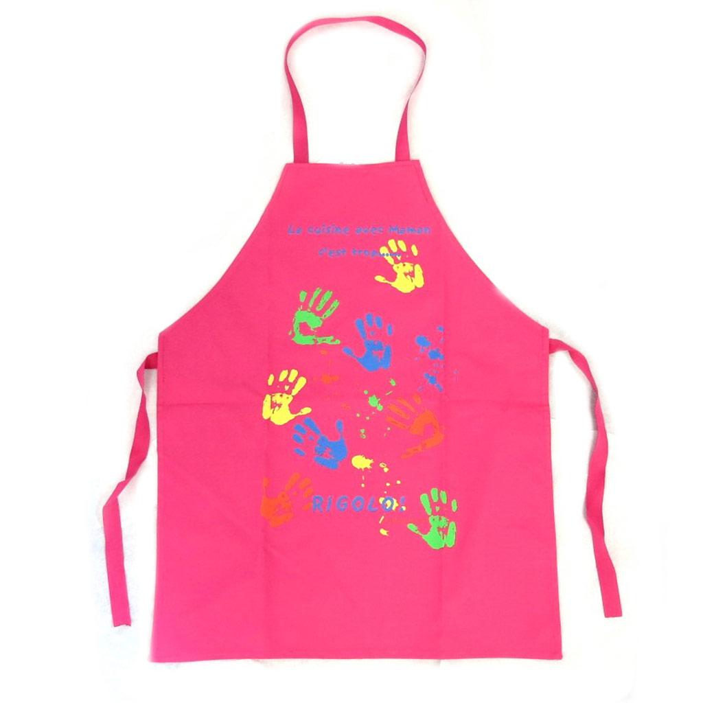 Tablier enfant \'La cuisine avec Maman c\'est troprigolo!\' rose fuschia - [N6361]