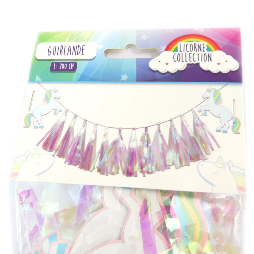 Guirlande \'Licorne My Unicorn\' blanc tutti frutti - 2 m - [P5420]