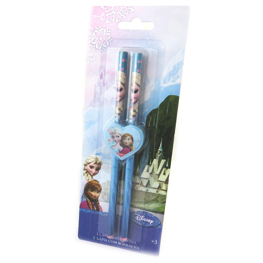 Set de 2 crayons + gomme \'Frozen - Reine des Neiges\' rose bleu - [N6372]