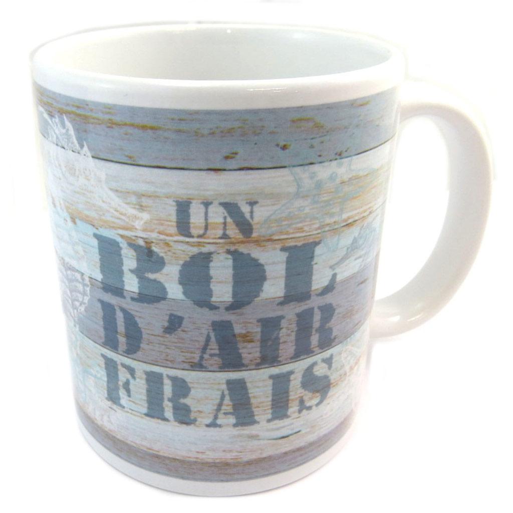 Mug céramique \'Monde Marin\' blanc bleu (Un bol d\'air frais) - [P5451]