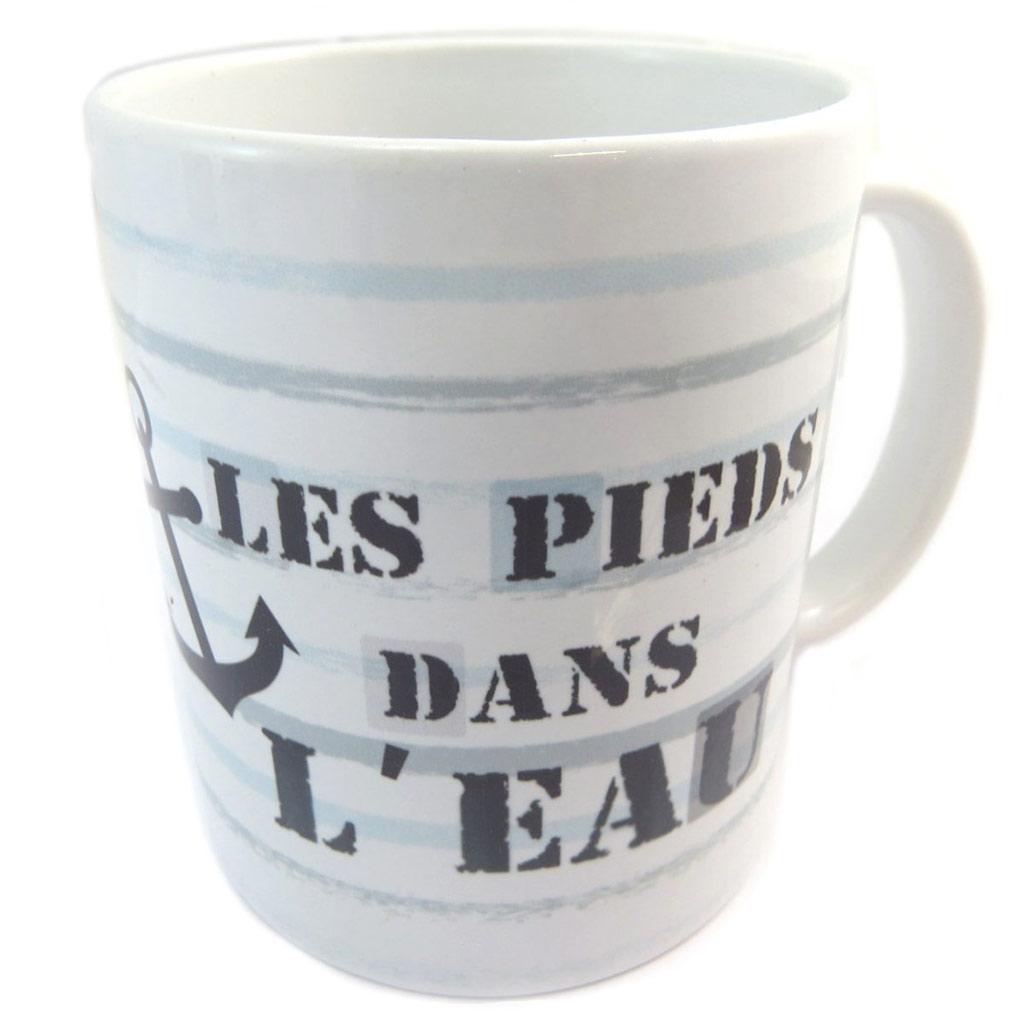 Mug céramique \'Monde Marin\' blanc bleu (Les pieds dans l\'eau) - [P5453]