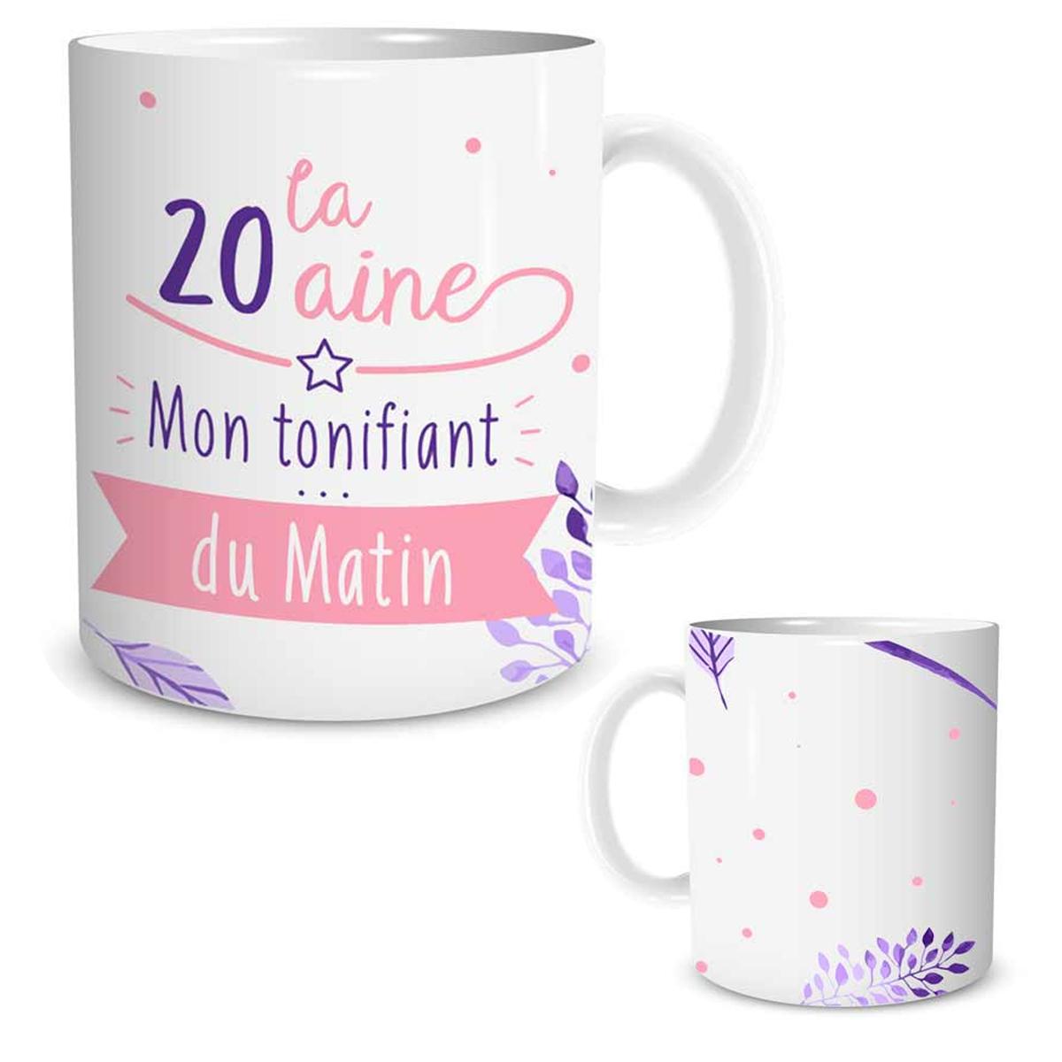 Mug céramique \'20 ans \' blanc rose (Mon tonifiant du matin) - [P5456]