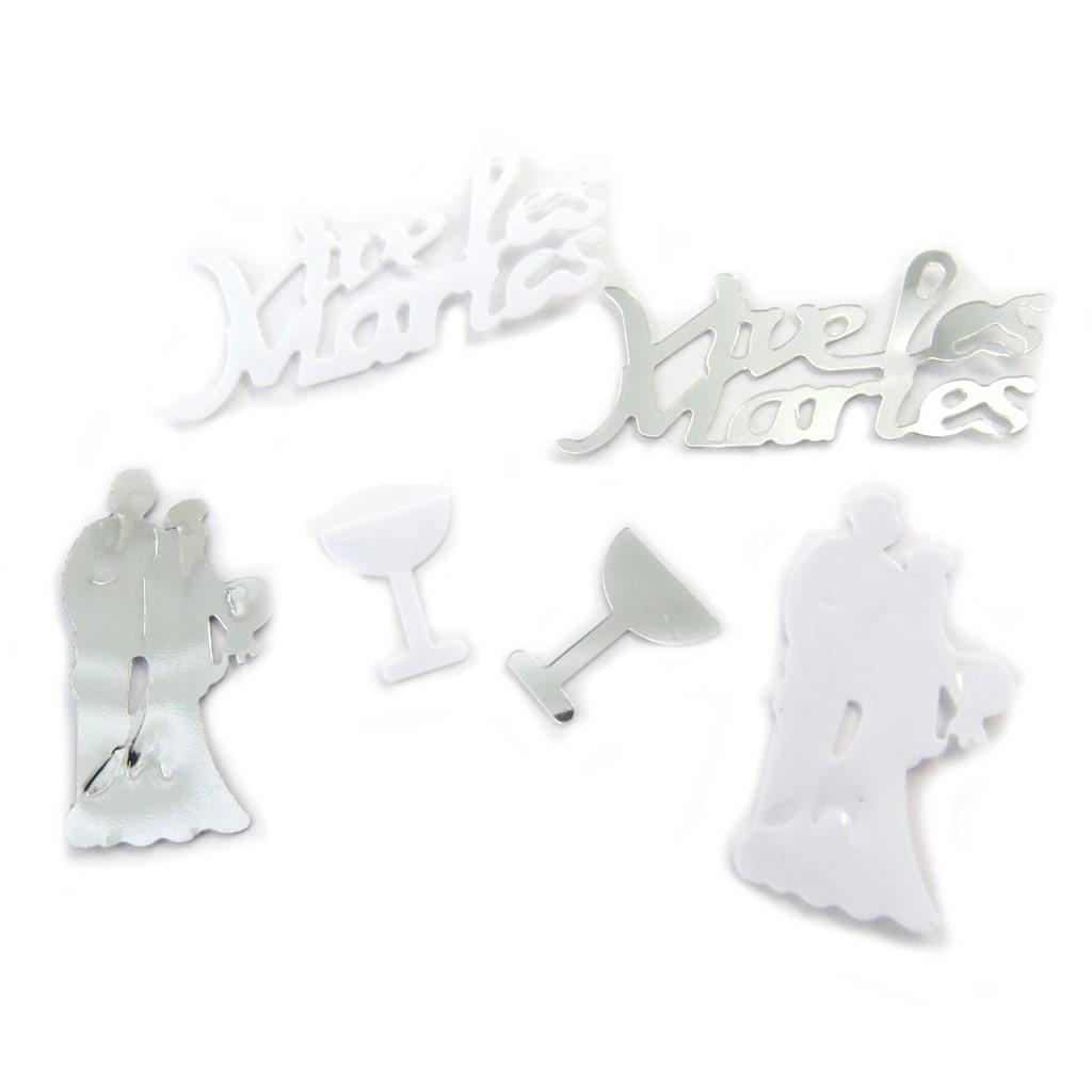 Set deconfettis \'Vive les Mariés\' blanc argenté (3 modèles) - [N6534]