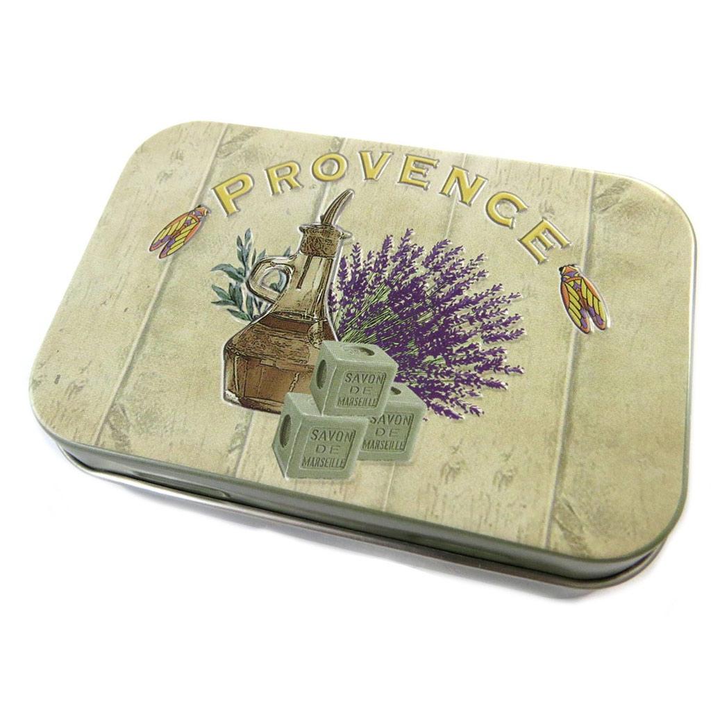 Boite métal \'Provence\' beige kaki - [N6548]